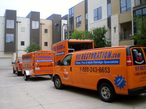 911 Restoration San Francisco Trucks at Job Site